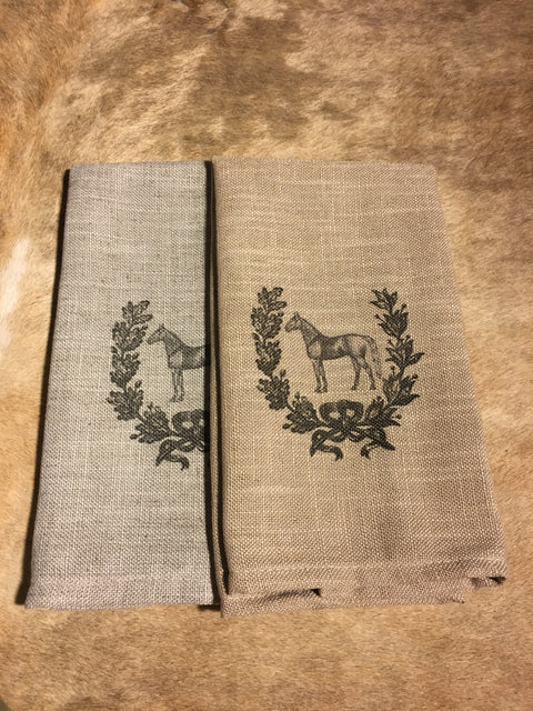Standing Horse and Wreath Cafe Towels