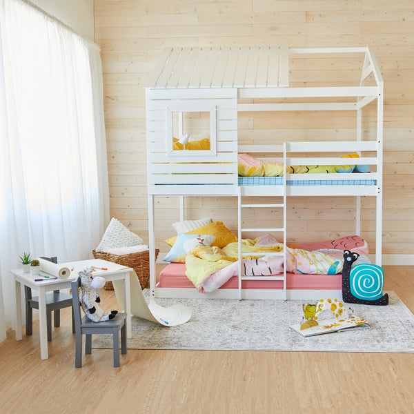 House Bunk Bed - WHITE - Double Size