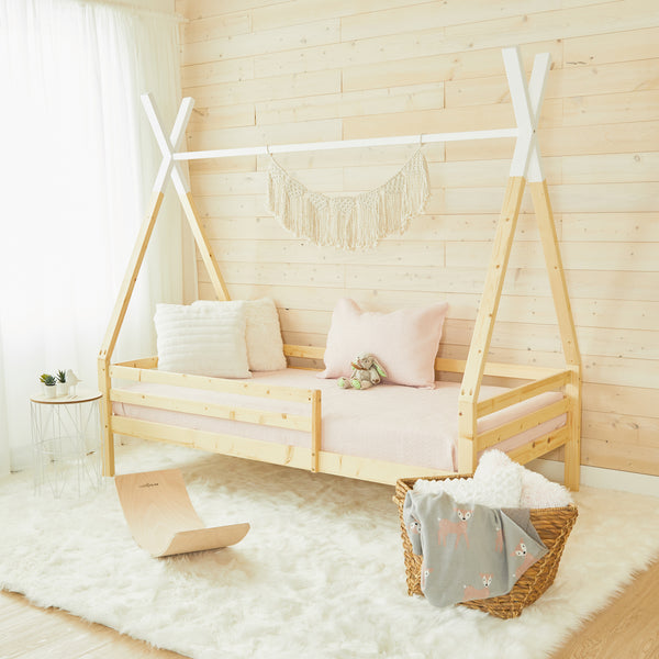 Teepee Bed With Rails - WHITE TOP - Double Size
