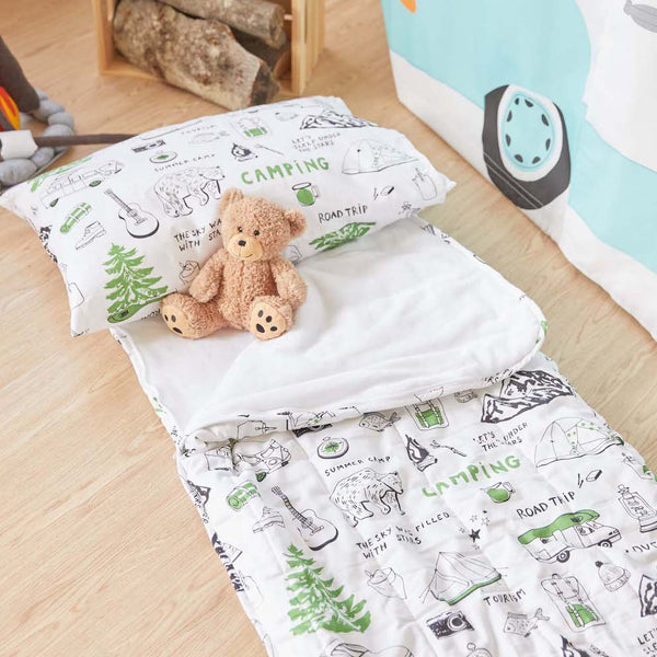 Camping Sleeping Bag - WHITE & GREEN (pre-order)