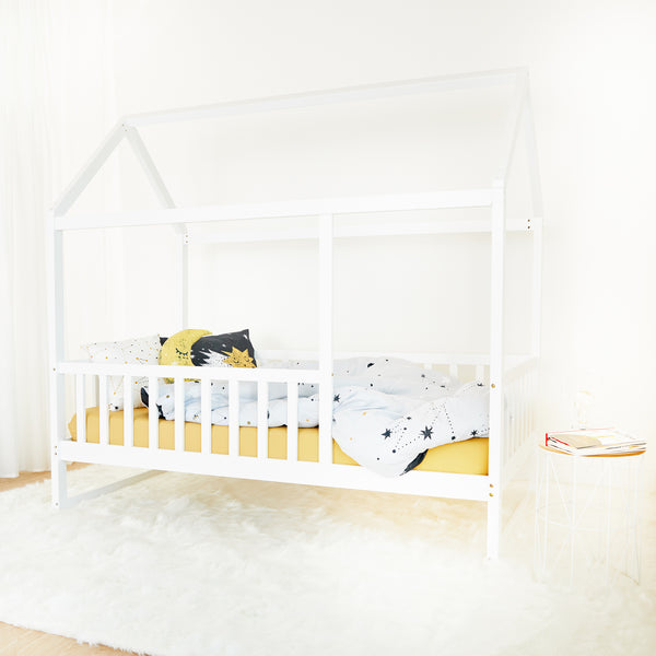 House Bed with rail - WHITE - Twin Size