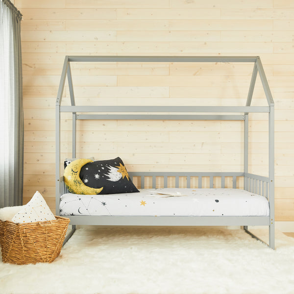 House Bed with rails - GREY - Double Size (pre-order)
