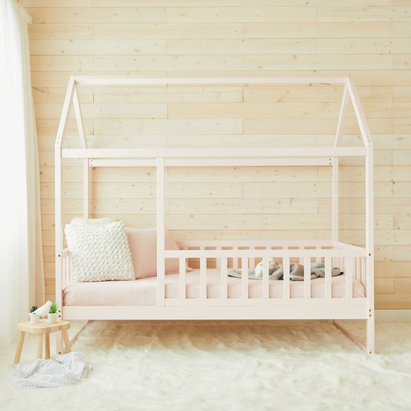 House Bed With Rails - PINK - Twin Size