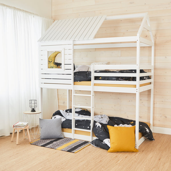 House Bunk Bed - WHITE - Twin Size
