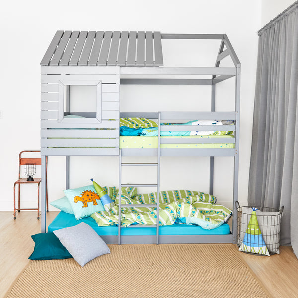 House Bunk Bed - GREY - Double Size