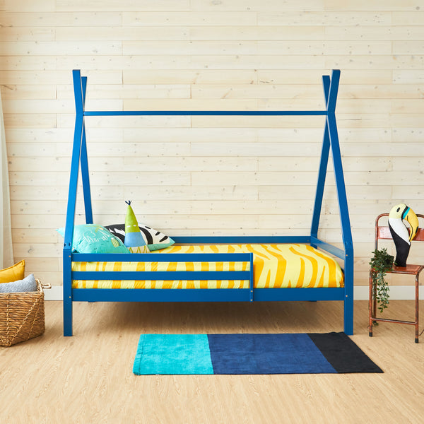 Teepee Bed With Rails - DARK BLUE - Double Size