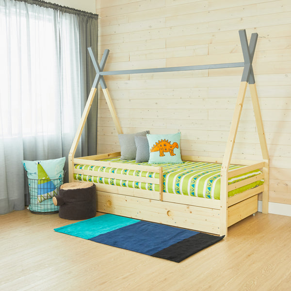 Teepee Bed With Rails - GREY TOP - Twin Size