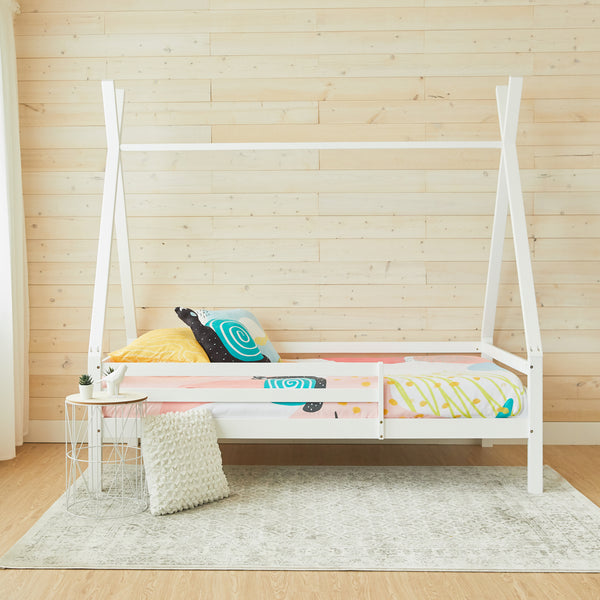 Teepee Bed with Rails - WHITE - Twin Size