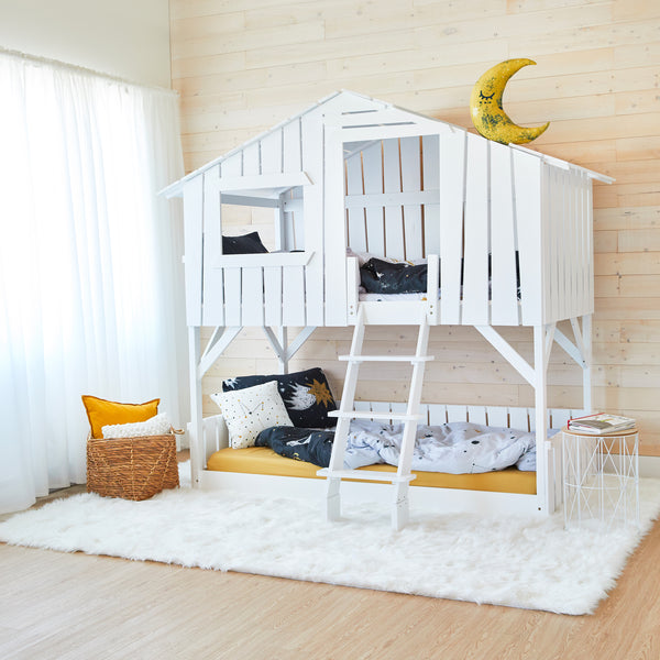 Treehouse Bunk Bed - WHITE - Twin Size