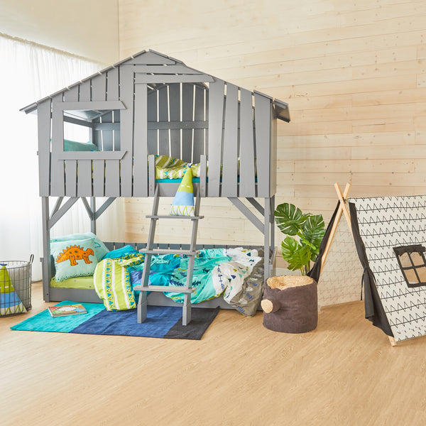 Treehouse Bunk Bed - GREY - Twin Size