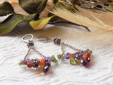 One of a Kind Sterling & Fine Silver Multi Gemstone Chandelier Earrings