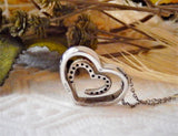 Sterling Silver .925 Diamond Double Heart Slide 18 Inch Necklace