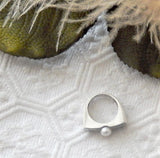Vintage Signed Modernist Minimalist Brushed Sterling Silver Pearl Ring Size 6