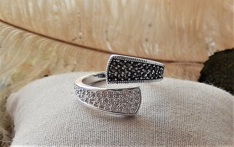 Sterling Silver Marcasite Hematite CZ Bypass Ring Size 9.25