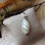 Sterling Silver Banded Gray Agate Pendant