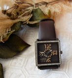 Haurex Italy Women's Diverso PC Square Crystal Brown Leather Watch BM369 DMM