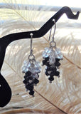 One of a Kind Sterling Silver Black & Clear Crystal Drop Dangle Earrings