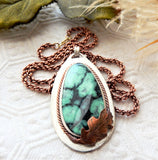 Artisan Long Sterling Silver Copper Chrysocolla Necklace