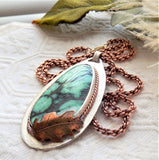 One of a Kind Artisan Crafted Sterling Silver Copper Chrysocolla Long 28 Inch Necklace
