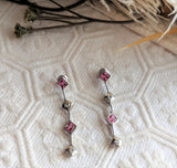Unique 14K White Gold Pink Sapphire Diamond Linear Post Earrings