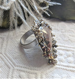 One of a Kind 22K Gold Sterling Multi Gemstone Bali Star Coral Statement Ring Size 7 1/2