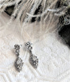14K White Gold Diamond Post Back Drop Dangle Flower Filigree Earrings