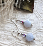 Artisan Crafted Sterling Silver Light Blue Chalcedony Crystal Drop Dangle Earrings