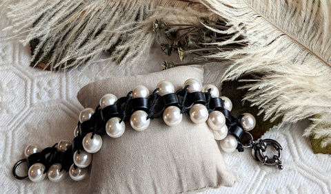 Lee Angel Black Metal Glass Pearl Woven Bracelet