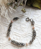 One of a Kind Sterling Silver Chainmaille Cultured Freshwater Pearl Bracelet