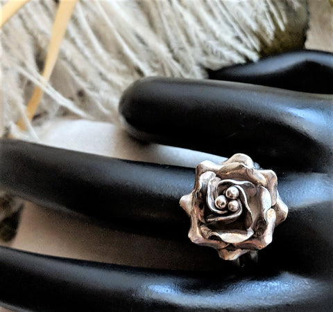 Artisan Crafted Solid Sterling Silver 3 Dimensional Adjustable Rose Ring