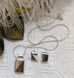 Mexico .925 Sterling Silver Tigers Eye Inlay Contemporary Necklace Earrings Set
