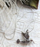 Sterling Silver Filigree Hummingbird Pendant 20 Inch Necklace