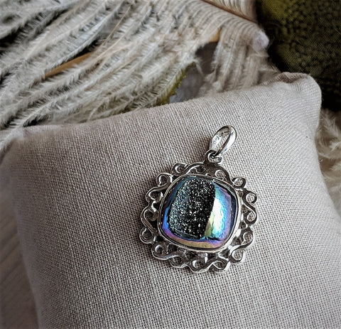 Artisan Crafted Sterling Silver Mystic Druzy Pendant