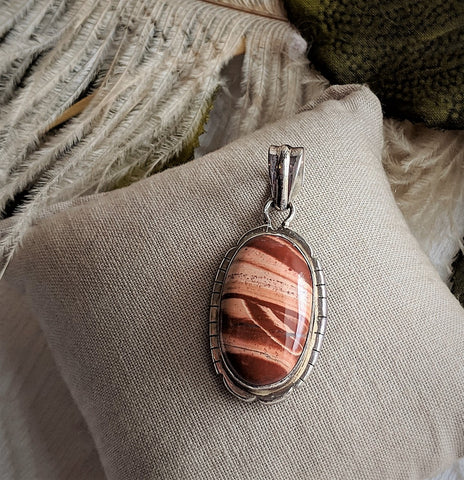 Artisan Crafted Sterling Silver Banded Jasper Oval Pendant