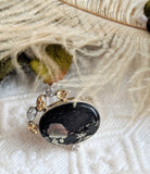 Unique Artisan Sterling Silver Black Jet Pyrite Citrine White Sapphire Ring