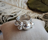 Unique Artisan Crafted Sterling Silver Wide Multi Domed Family Ring  Size 8 1/2