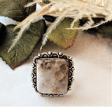 Artisan Crafted Large Square Sterling Silver Spotted Jasper Ring Size 8