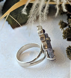 Unique Artisan Crafted Sterling Silver Amethyst Topaz Stalactite Adjustable Ring