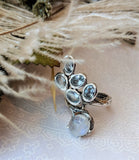 Artisan Crafted Sterling Silver Moonstone & Aquamarine Bypass Ring Size 7