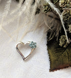 Sterling Silver Aquamarine Heart Flower Slide Pendant