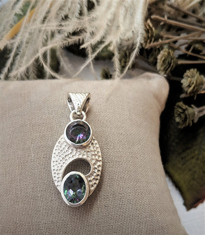 Unique Modernist Artisan Crafted Sterling Silver Faceted Mystic Topaz Pendant