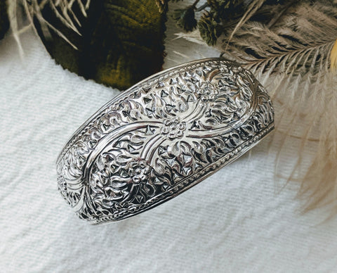 Unique Artisan Crafted Intricate Sterling Silver Floral Cuff