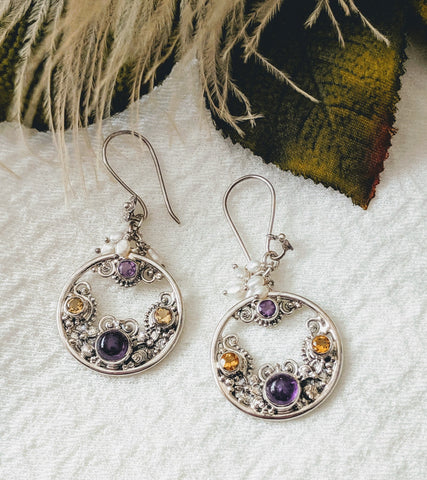 Artisan Crafted Sterling Silver Amethyst Pearl Earrings