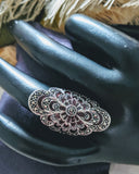 Artisan Crafted Sterling Silver Marcasite Enamel Filigree Ring