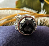 Artisan Crafted Sterling Silver 14K Gold Smoky Quartz Spinner Ring