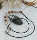 One of a Kind Silver Leather Bone Wood Arrowhead Necklace
