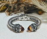 Frederica Retorre Amber Sterling Silver 18K Gold Roman Style Hinged Cuff Bracelet