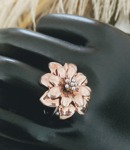 Designer Sterling Silver Rose Gold Flower Ring