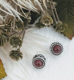 Bali Sterling Silver Bezel Set Carnelian Stud Earrings
