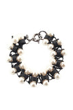 Lee Angel Black Leather Glass Pearl Woven Bracelet